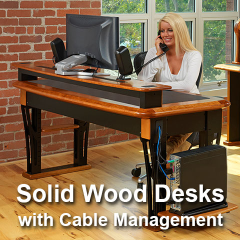 Solid Wood Desks with Cable Management
