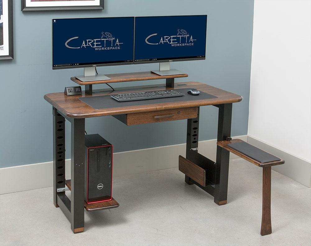 loft desktop riser shelf black walnut caretta workspace. Black Bedroom Furniture Sets. Home Design Ideas