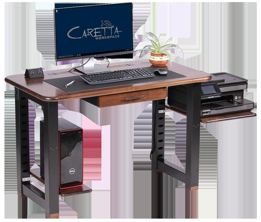 Large shelf for loft desk walnut caretta workspace for Desk for computer and printer