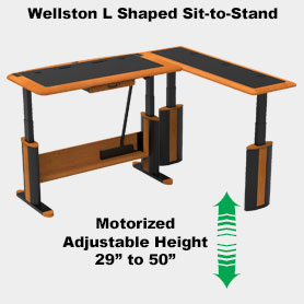 Wellston Executive Sit-Stand, L Shaped Desk