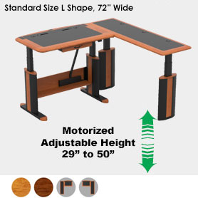 Wellston Executive Sit-Stand Desk, L Shaped, Standard Size