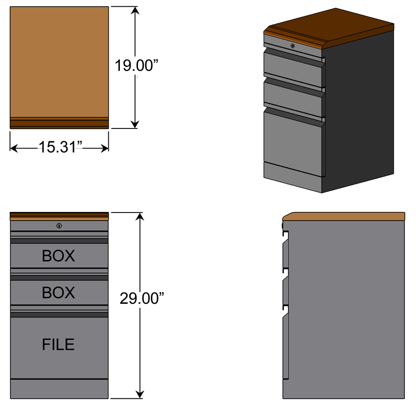 Box Box File Cabinet with Wood Top Dimensions