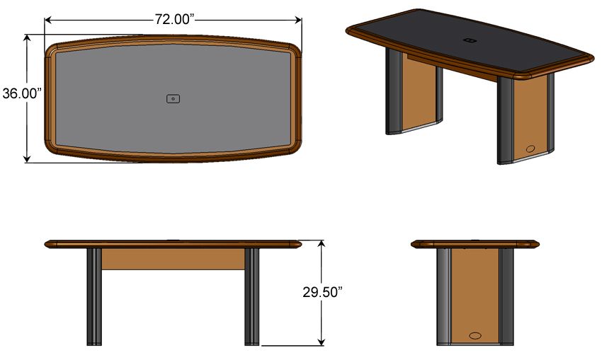 Conference Table For Six Caretta Workspace - Conference table with power and data