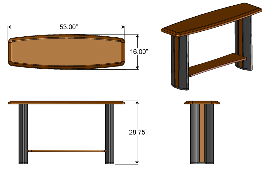 Console table caretta workspace for 10 inch depth console table