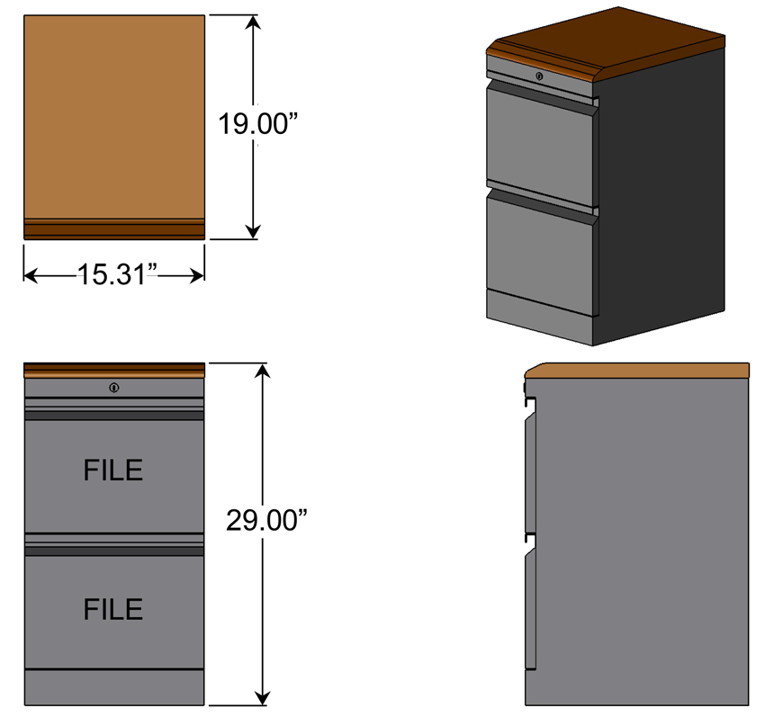 File File Cabinet with Wood Top Dimensions