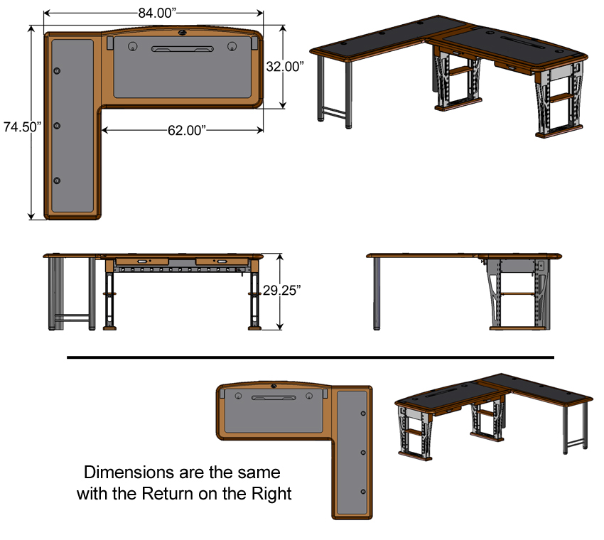 Modern Urban Computer Desk 2 L Shaped Right Caretta