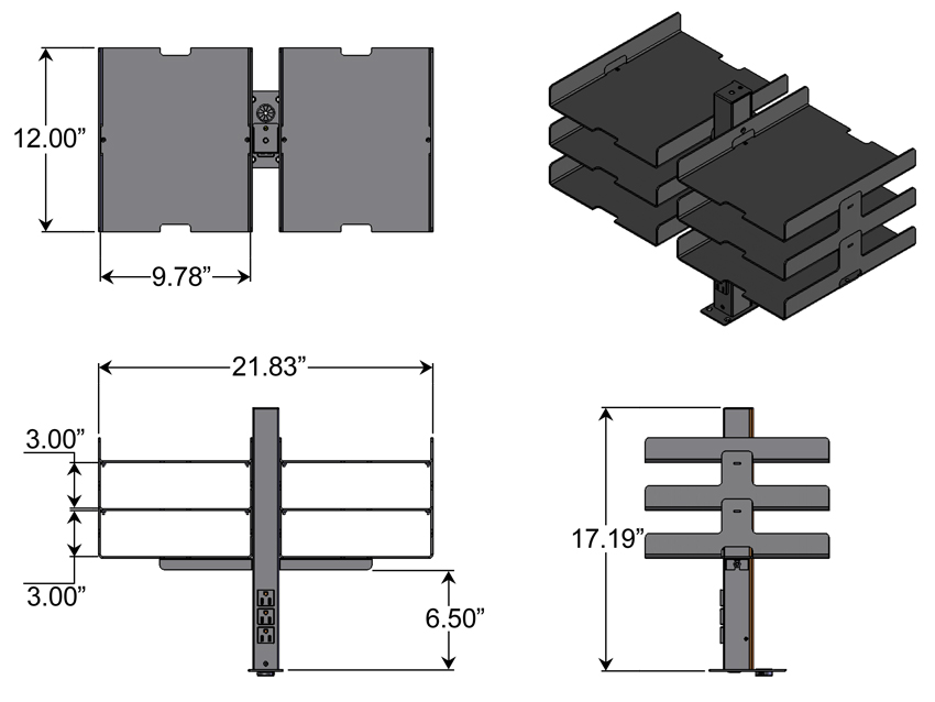 Power Organizer Tower 6 Shelf Dimensions