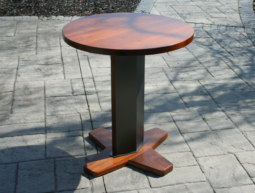 Small Table With Round Walnut Top.