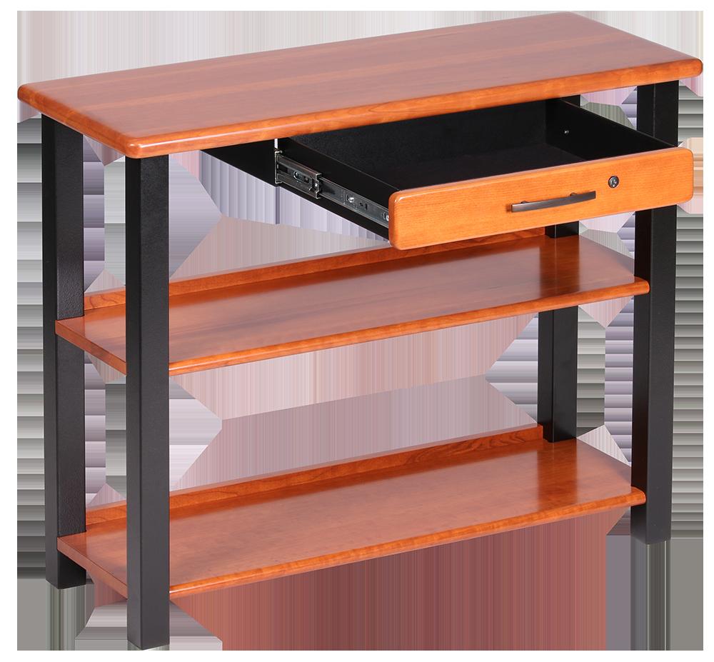 bookshelf table with drawer cherry caretta workspace. Black Bedroom Furniture Sets. Home Design Ideas