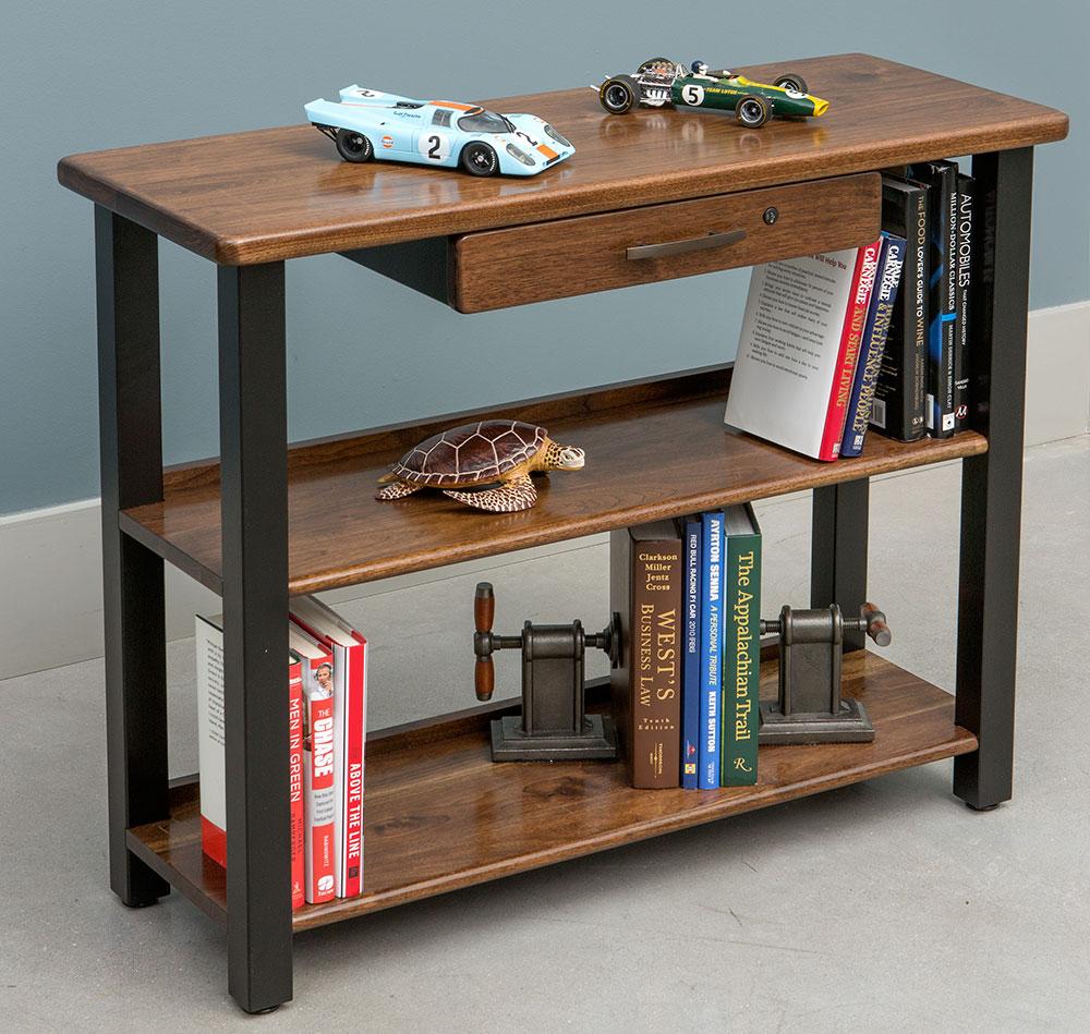Bookshelf Table With Drawer, Black Walnut