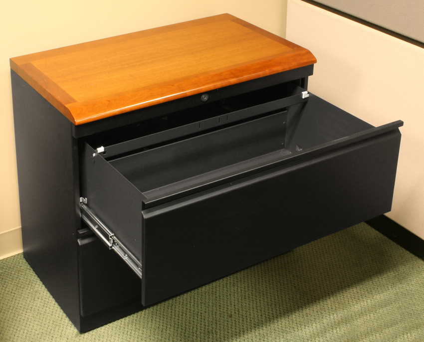 Lateral file cabinet with premium wood top caretta workspace for Wood and metal cabinets